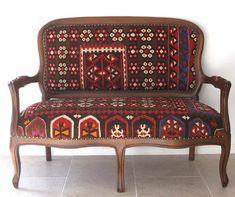 Settee covered in vintage kelim