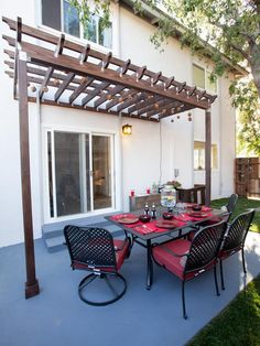 Unit C: Dining Area, After - Flipping the Block: Tour the Finished Outdoor Spaces  on HGTV