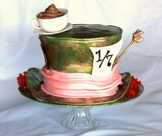 mad hatter cake with bronzed look