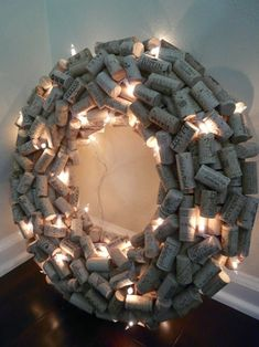 Lighted Wine Cork Wreath