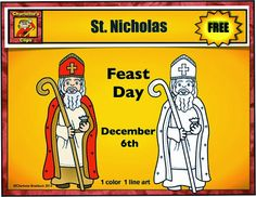 Free St. Nicholas Clipart from Charlotte's Clips Both Color and Line Art.