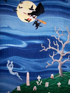 Halloween quilt, close up, by Linda Cantrell. Southern Highland Craft Guild - Member Gallery