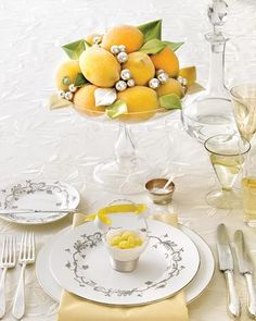 table settings, lemons, wedding ideas, weddings, silver, yellow, new years eve, wedding centerpieces, parti
