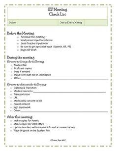 IEP Meeting Checklist Freebie!
