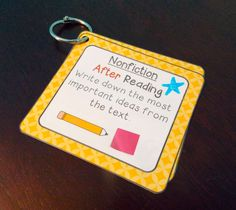 Guided reading / reading workshop idea:  laminate reading strategy cards and put them on binder rings for the kids to use.  If you want a child to focus on a particular strategy, use a dry erase marker to star that card.  You can erase it and write it on a different card once the child is using that strategy consistently!