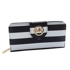 Charming Michael Kors Striped Travel Large Black Wallets Make You To BeCrazy