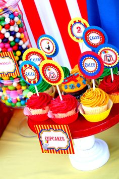 CIRCUS CUPCAKE TOPPERS For The Greatest Show On by KROWNKREATIONS