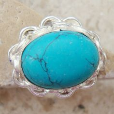 28mm OPAQUE TURQUOISE Smooth Gemstone Cabochon 925 by SilverGemsCo, $16.95