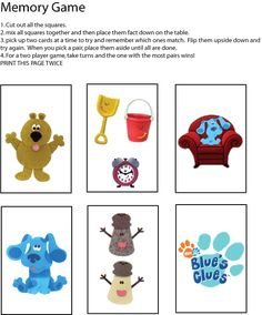 Blues Clues Memory Game Games
