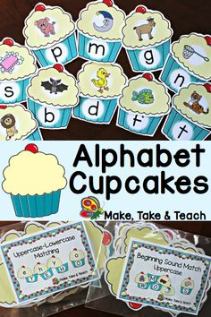 Alphabet Cupcakes- great for independent centers or for small group instruction!  Two activities in one- upper- to lowercase matching and beginning sounds.