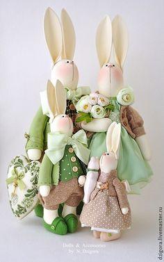 Семейство кроликов - зайцы,семейство заек,семейство зайцев,кролики,кролик