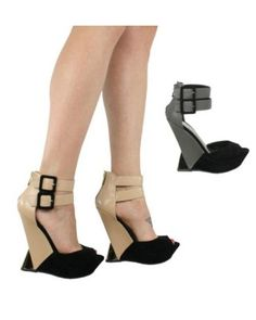Gianna platform peep-toe high heel wedge shoes L3380