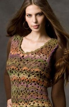 Free Red heart crochet tank pattern. I love this yarn. They have beautiful colors.