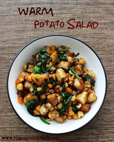 Warm POTATO SALAD w SPINACH & CHICKPEAS (for 1). Made in a hot skillet ...