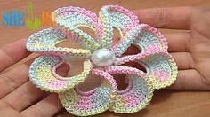 Sheruknittingcom: 3D Spiral 8-Petal Flower Trim Around Tutrial 56  h...