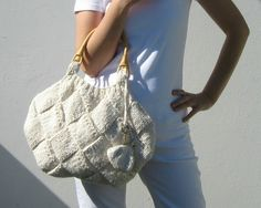 Tote Bag Knitted in Cotton with Rattan Handles