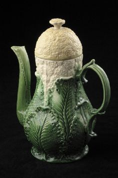 Coffee Pot by Wedgewood, 1759. Queens ware and cream-coloured earthenware with deep-green glaze.