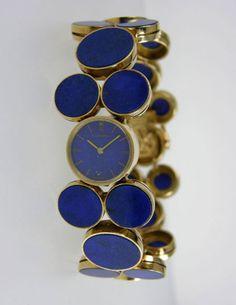 Vintage Lapis Cartier Watch fashion watches, god, vintag cartier, vintag gold, cartier watches, 1970s, jewelri, gold timepiec, cartier vintag