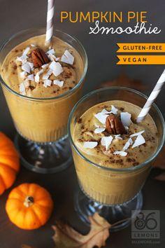 Pumpkin Pie Smoothie (vegan, gluten-free)  86lemons.com
