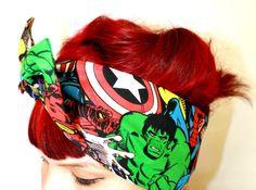 It's back !!! Bow hair tie  Comic The Avengers by OhHoneyHush on Etsy, $10.00 Avengers, hair tie, bow, rockabilly hair, bandana, marvel, the hulk