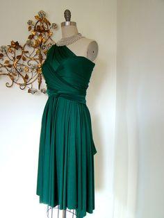 Multi-way convertible wrap dress in emerald green.
