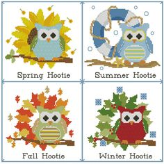 Hooties Seasons of the Year PDF Cross Stitch by PinoyStitch, $7.50