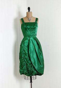 1950's Emerald green silk/satin dress