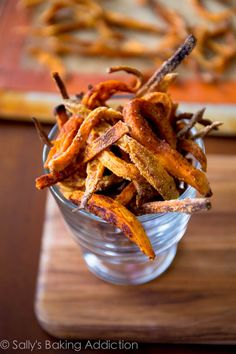 Baked Crispy Sweet Potato Fries.  Simple and healthy. Recipe by sallysbakingaddiction.com