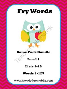 Fry Word Interactive Games - Level 1 - Lists 1-10 - 1-250 from Knowledge Mobile on TeachersNotebook.com -  (80 pages)  - A set of 10 interactive games that emphasize Fry's 1000 Words. Students love them. Purchase today so your students will learn tomorrow!!!