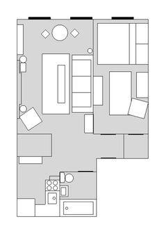 397 Sq. Ft. NYC Apartment Layout mini manhattan, apart live, studio apartments, manhattan apt, minis, apartment ideas, small space, apart idea, apart layout