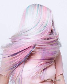 Multi color pastel hair