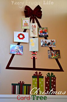 Ribbon Christmas Card Tree Display From: Fancy Frugal Life: (How I Display Christmas Cards)