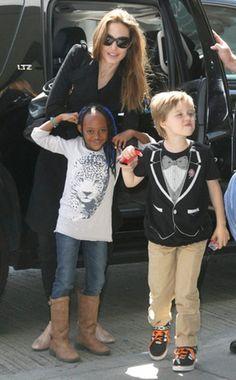 Angelina Jolie, Zahara & Shiloh