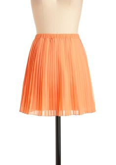 Apricot-tage Getaway Skirt - Short, Solid, Pleats, Casual, Orange, Spring