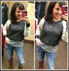 Fancy sweatshirts are so IN right now, and I am absolutely LOVING this one!  Lace and faux leather accents!