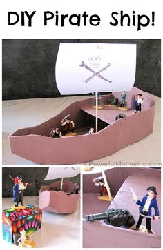 Make an easy DIY Pirate Ship from cardboard and have fun with tons of imaginative play and the awesome pirate toob from Safari Ltd!