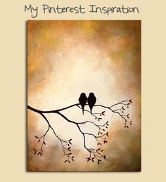 Birds on a Branch Silhouette Painting - My Pinterest Inspiration @Amanda Formaro