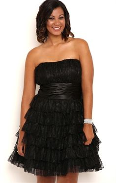 Deb Shops Plus Size Strapless Short Lace Homecoming Dress with Cupcake Skirt $95.00