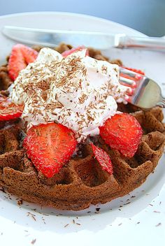 Chocolate Waffles with Cool Whip & Strawberries!