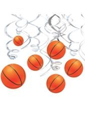 """Basketball Hanging Swirl Decorations-Party City  Perfect for my son`s """"march madness"""" theme bday party!"""