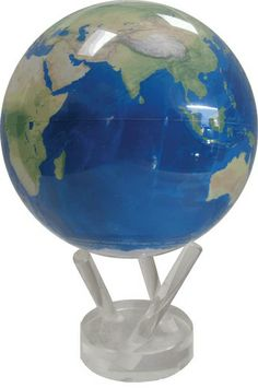 "MOVA Globe - Natural Earth, 4.5"" Solar powered, turns peacefully on its own, using only the energy of room light and the forces of Earth's magnetic field to simulate perpetual motion. $140 http://naturalsciences.org/museum-store/featured-products"