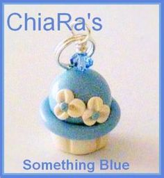 Polymer Clay Something  Blue Cupcake Charm by CharmthisClayCharms, $3.00