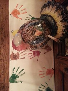 #DIY Turkey Handprint Table Runner - Great simple project to do with the kids on #Thanksgiving from @Wendy Vaughan Hat