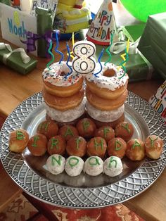 birthday breakfast, easi birthday, cake decor, birthday donuts, donut cake, decor idea, parti, birthday cakes