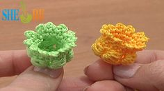 Crochet 3D Bellflower Tutorial 68 Part 1 of 3 Center for Poppy Flower Na...