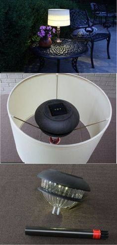 A solar light used with a lampshade to make a patio lamp.