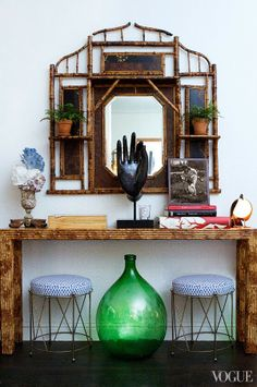 ... mirror, interior, antique shops, vignett, stool, homes, apartments, travel style, bamboo furniture