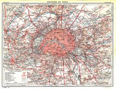 Paris and Environs Vintage Map City Plan 1923 by carambas on Etsy, $14.00
