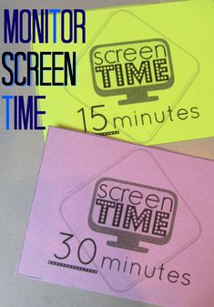 screen time cards for digital kids: easy tool for monitoring screen time | free download and info on AAP recommendations #weteach
