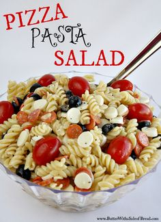 Pizza Pasta Salad ~ awesome for potlucks!  I cut grape tomatoes in half, added purple olives, artichokes, Parmesan cheese, mozzarella balls and pepperoni with concha shells pasta. Made zesty Italian salad dressing and poured over salad. Yum